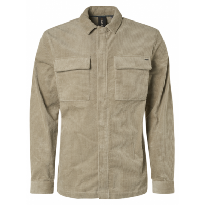 No Excess shirt, l/sl full zip bttn overshirt stone