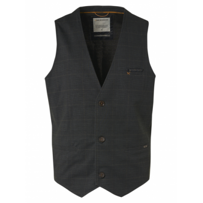 No Excess gilet, printed check jersey unlined stretch black