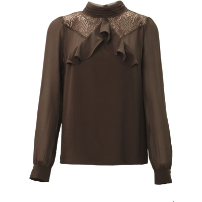 Tramontana top chiffon ruffle dark brown