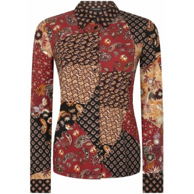 Tramontana blouse patchwork print print browns