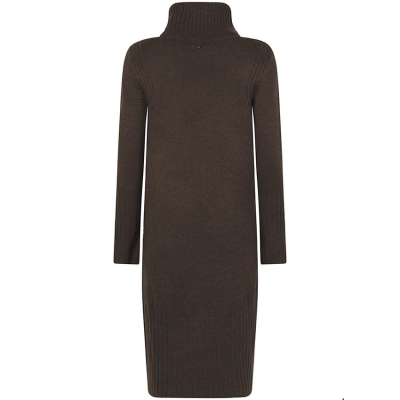Tramontana dress knit stud detail dark brown