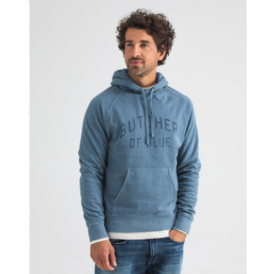 Butcher of Blue, college hooded sweat l/s china grey
