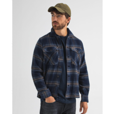 Butcher of Blue, saturn check overshirt, alaska blue