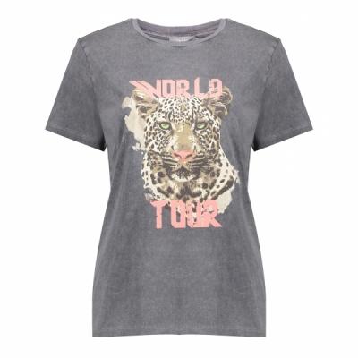 Geisha, t-shirt acid dyed tiger head ss antraciet