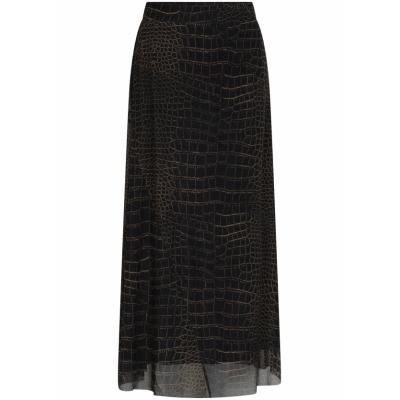 Tramontana, skirt midi mesh croco print
