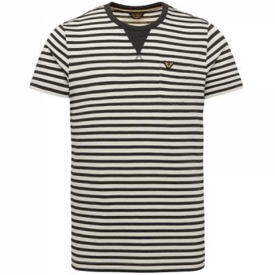 PME Legend, ss r-neck yarn dyed striped jersey asphalt